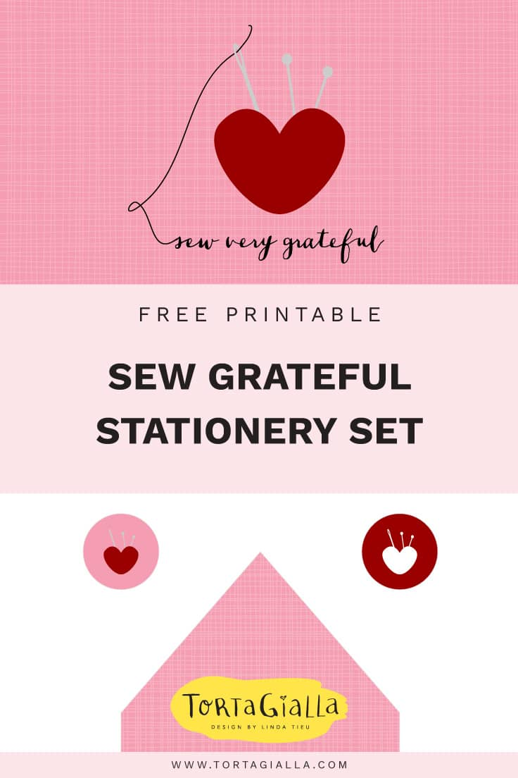 Download this free printable - Sew Grateful Card and Envelope Liner - free stationery printable on tortagialla.com