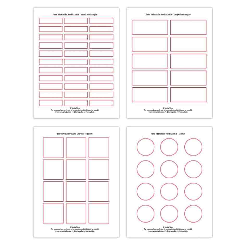 Preview image of pages of the free printable vintage red labels PDF - on tortagialla.com