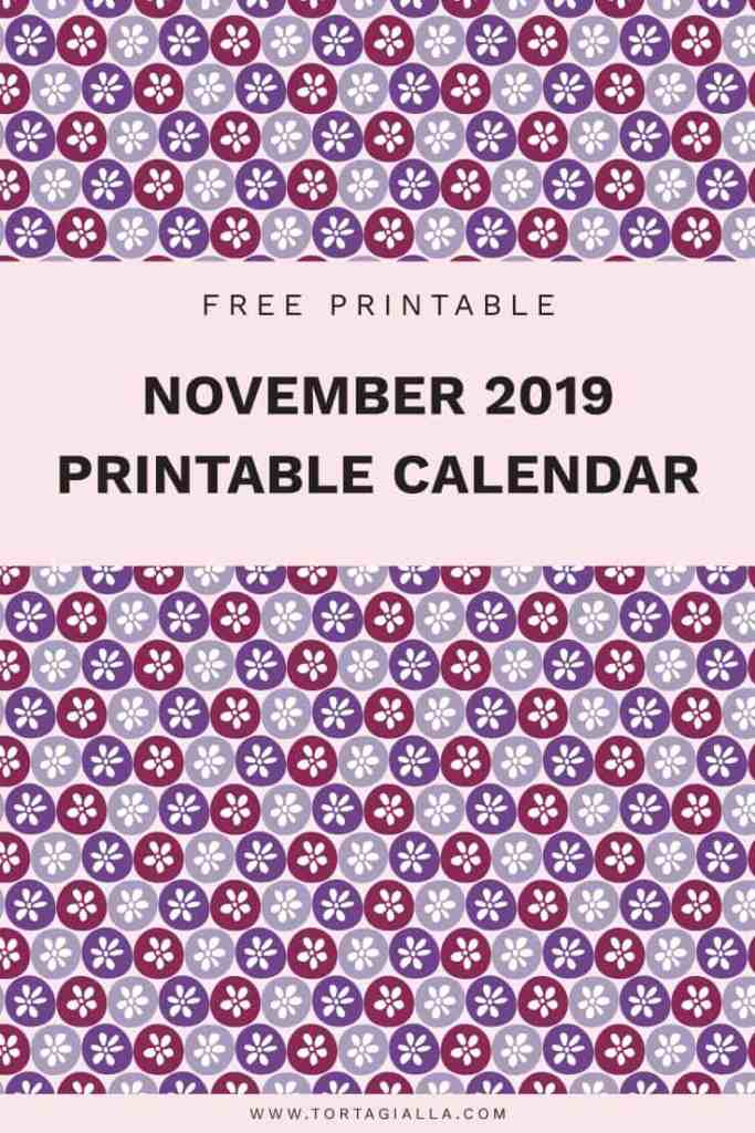 November 2019 printable calendar - free download on tortagialla.com