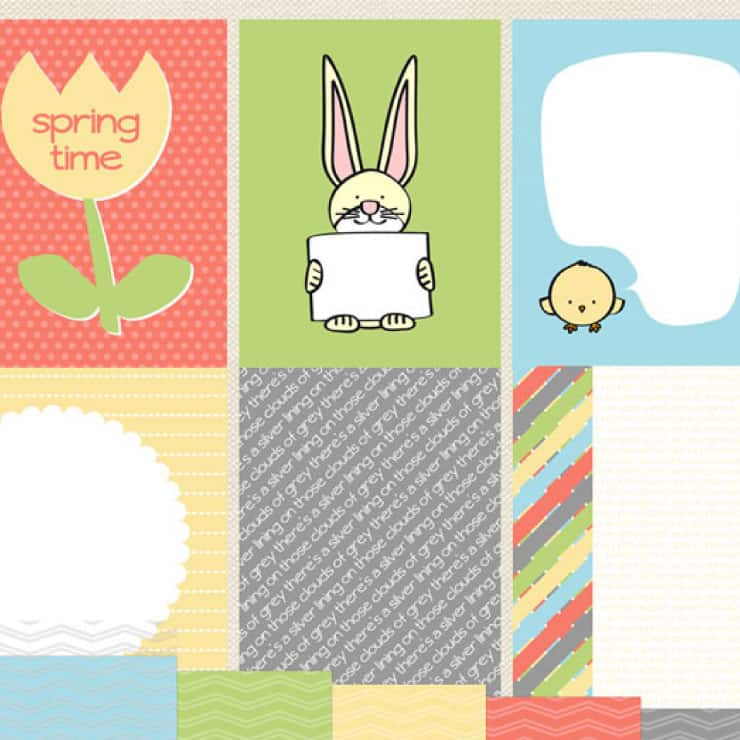 Springtime digital kit of papers and journaling cards