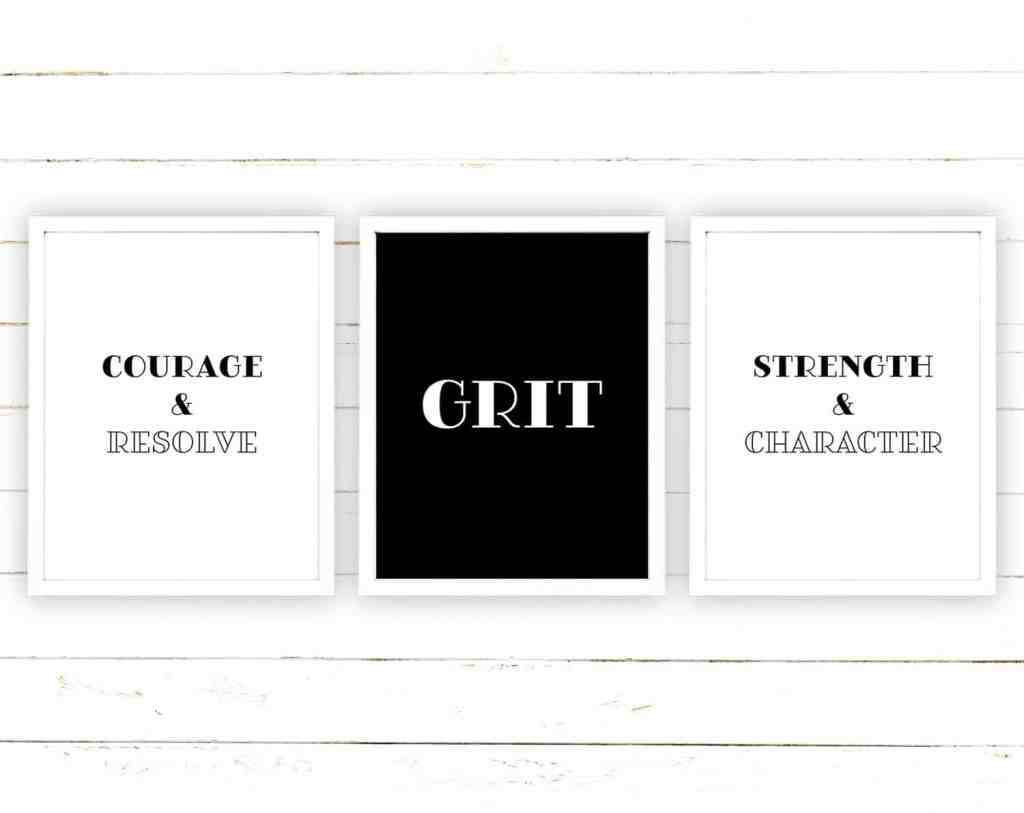 Looking for some motivation and inspiration? Check out these Grit themed printables that you can download and print for your desk and office space - on tortagialla.com
