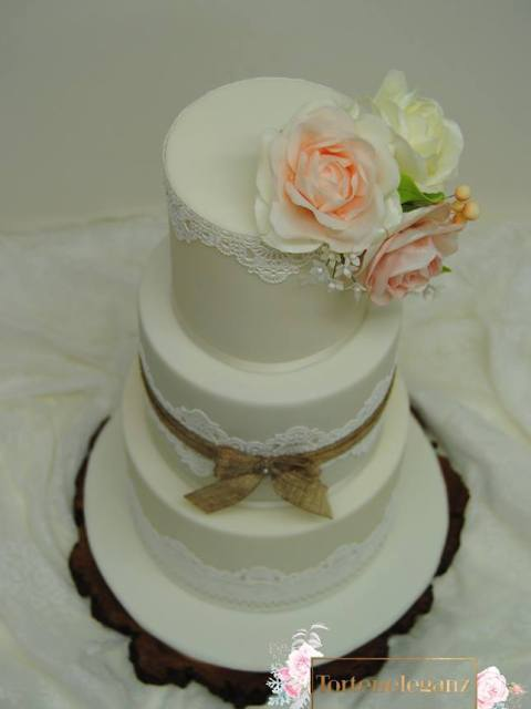 Rustikale Vintage Hochzeitstorte 3 Stöckig von oben