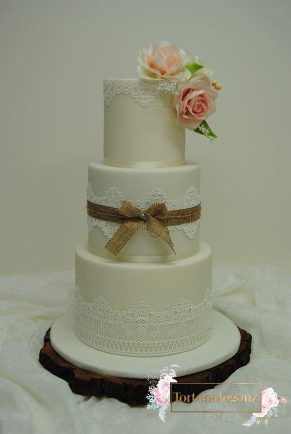 Rustikale Vintage Hochzeitstorte 3 Stöckig