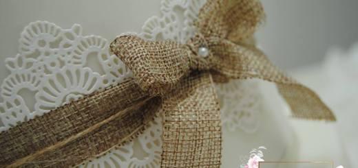 Rustikale Vintage Hochzeitstorte Detail Schleife