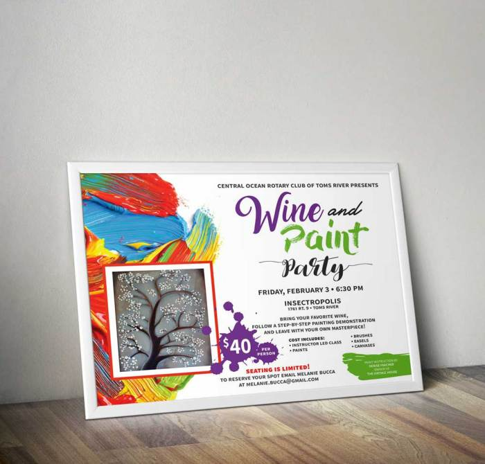 Rotary Wine and Paint Party flyer poster
