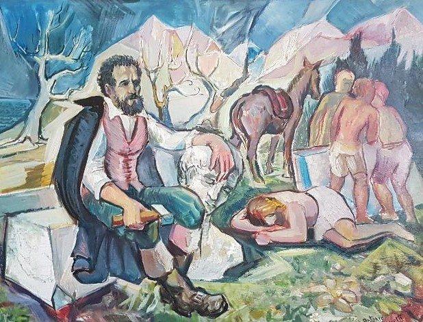 Antonio Fascetti, Michelangelo a Seravezza (olio su tavola)