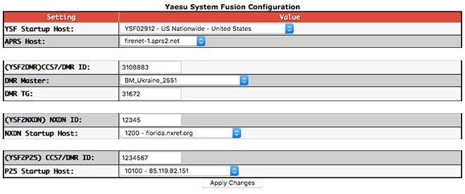 Digital mode configuration settings - YSF cross-modes