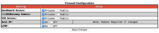 Additional configuration settings - Firewall Configuraiton