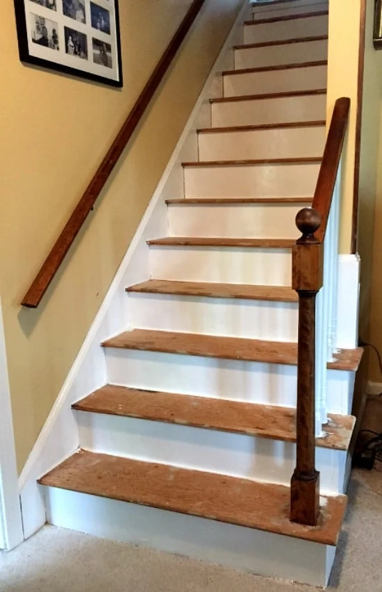 How To Remove Carpet From Stairs And Paint Them   Refinishing Builder Grade Stairs   Diy   Basement Stairs   Staircase Makeover   Flooring   Carpeted Stairs