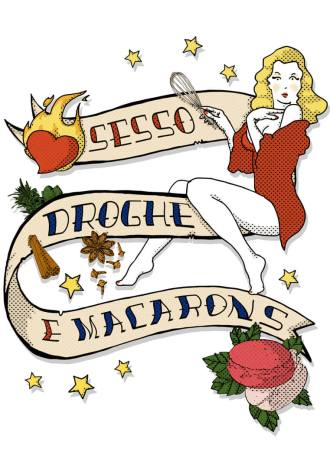 Cover art for Sesso Droghe e Macarons by Roberta Deiana, Sperling & Kupfer illustration by Tostoini