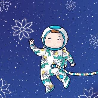 Daisy the astronaut framed custom made illustration Tostoini
