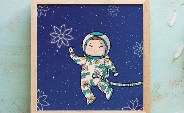 daisy the astronaut framed custom made illustration tostoini