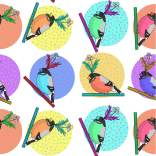 """""""Birds of a feather flock"""" together pattern design illustration by tostoini"""