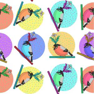 """Birds of a feather flock"" together pattern design illustration by tostoini"