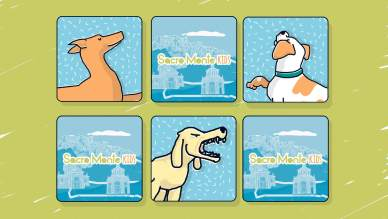 Sacro Monte Kids dog sculptures memory game illustration by tostoini