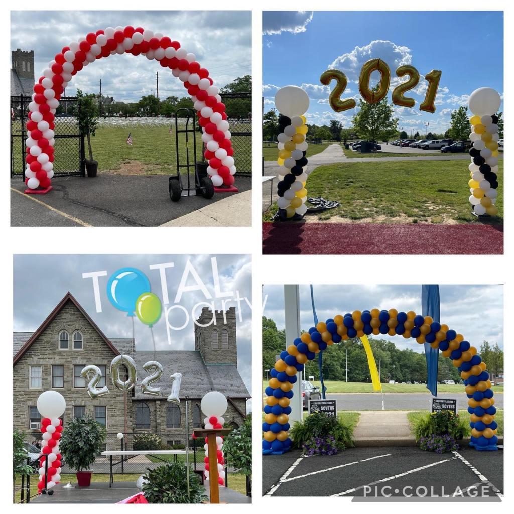 A few pics from this year's graduation season #graduationballoons2021  #balloonarches #eastbrunswickballoons #balloonsnearme #balloonsbytotalparty