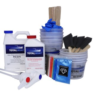 TotalBoat Epoxy River Table Quart Kit with Mixing Tools and Pigments