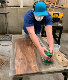 TotalBoat River Table Project Step 6 - Demold & Sand