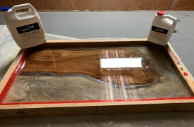TotalBoat River Table Project Step 5 - Pour Mixed Epoxy Into the Mold