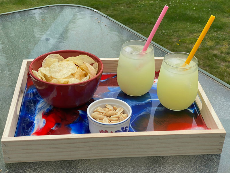 TotalBoat Patriotic Serving Tray holding food & drinks