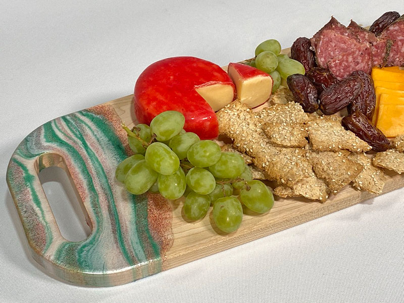 TotalBoat Epoxy Holiday Serving Board complete with party food