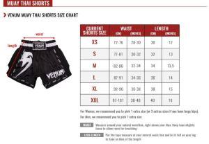 venum muay thai shorts size guide total combat sports