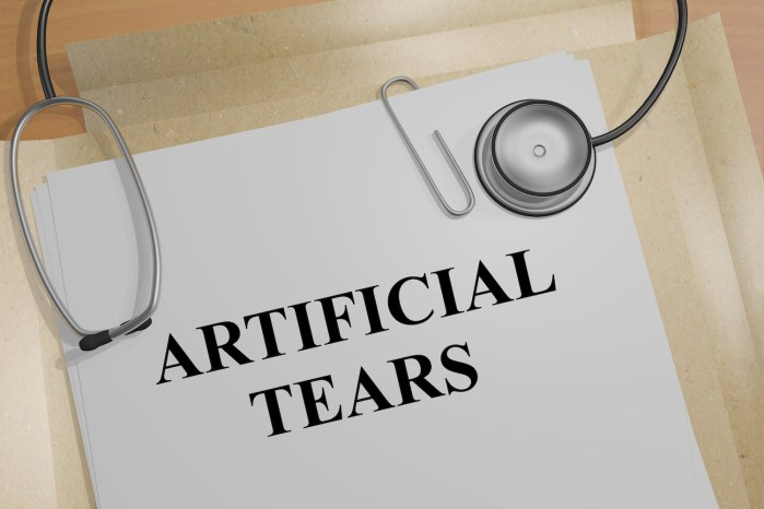 3D illustration of 'ARTIFICIAL TEARS' title on a medical document