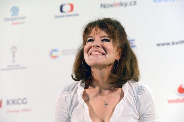 Fanny Ardant na tiskové konferenci (foto: Film Servis Karlovy Vary)