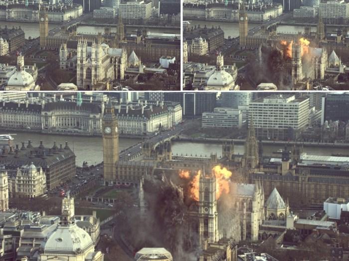 Demolice WestminsterAbbey pohled zepředu - Pád Londýna