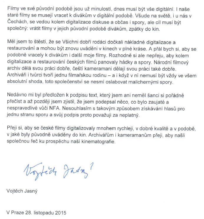 Dopis Vojtěcha Jasného