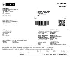 Faktura údajně dokládající pozdní dodání materiálu ze strany NFA