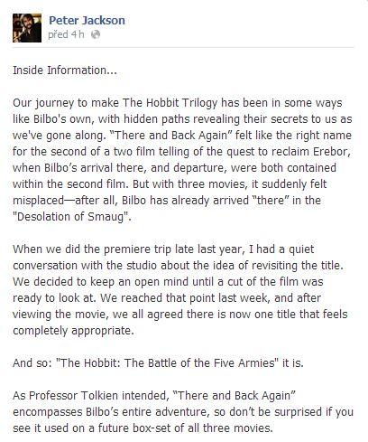 Screen z facebooku Petera Jacksona