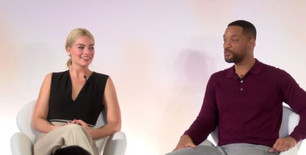 Margot Robbie a Will Smith na tiskovce Focus