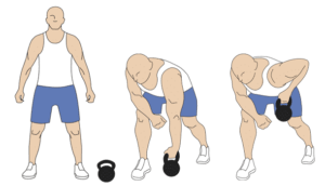 Single arm bent over kettlebellrow