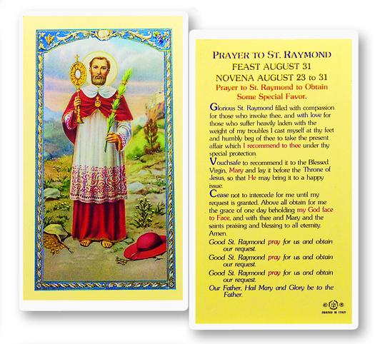 St Raymond Laminated Holy Card