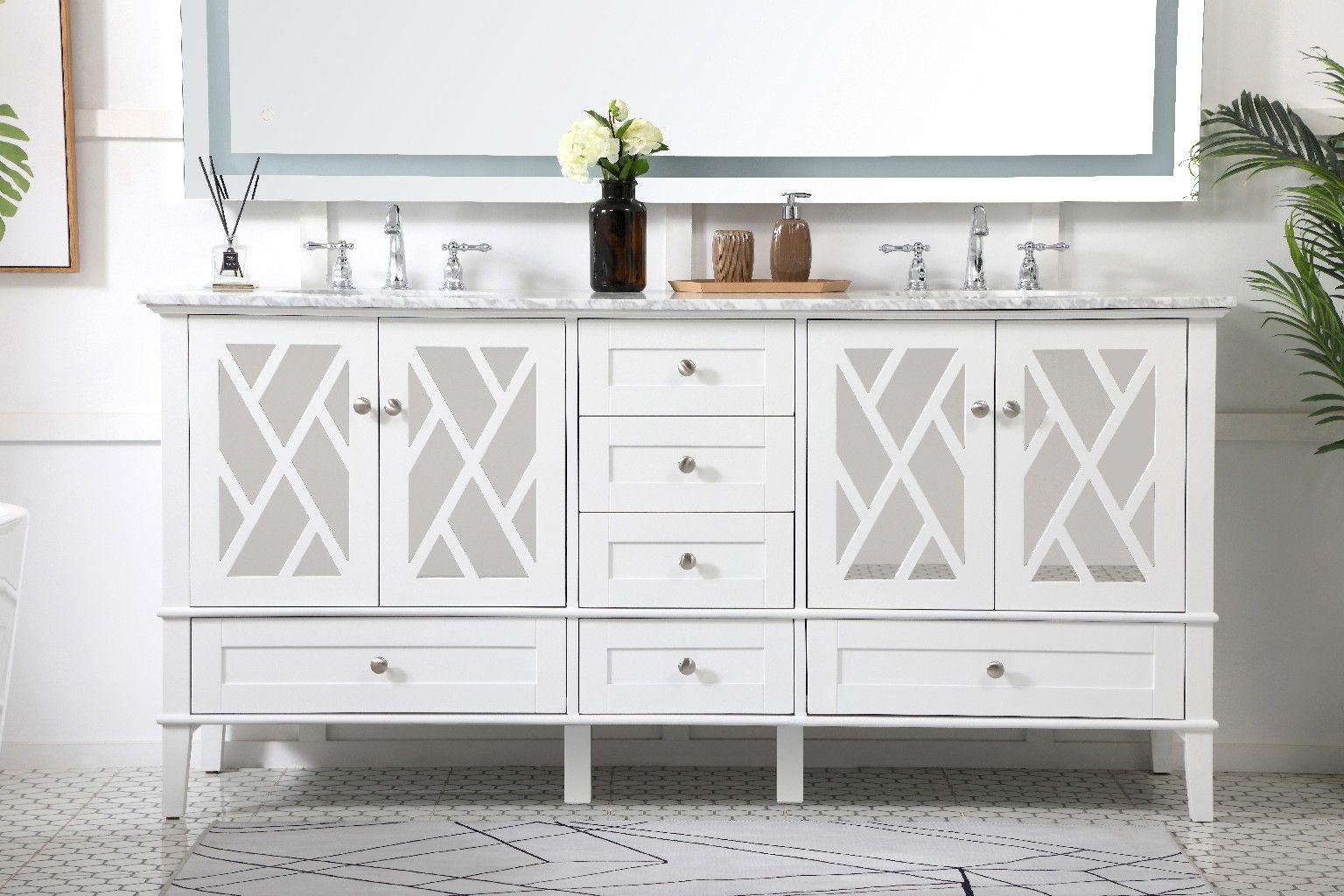 72 inch double bathroom vanity set in white elegant lighting vf30272dwh