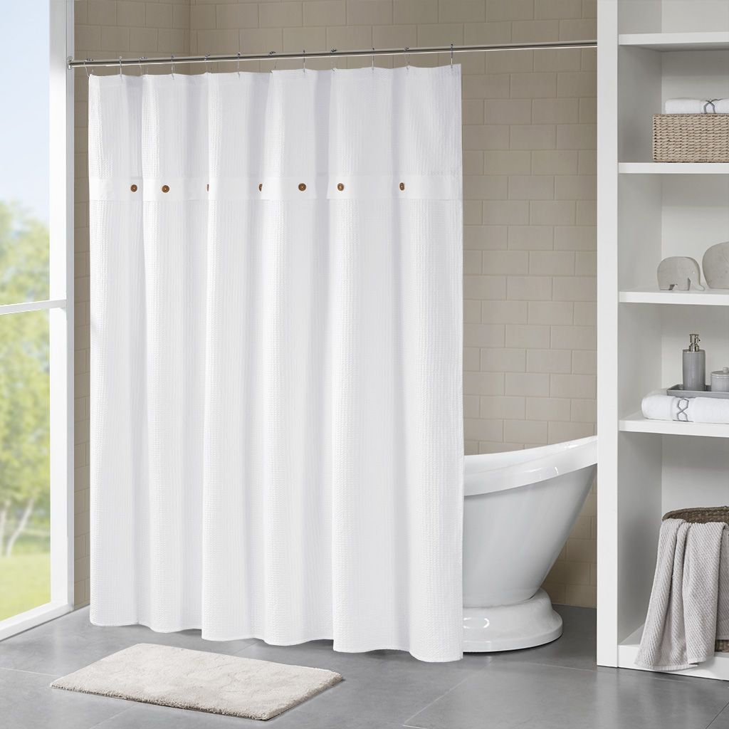 finley 72x72 finley 100 cotton waffle weave textured shower curtain madison park mp70 5636