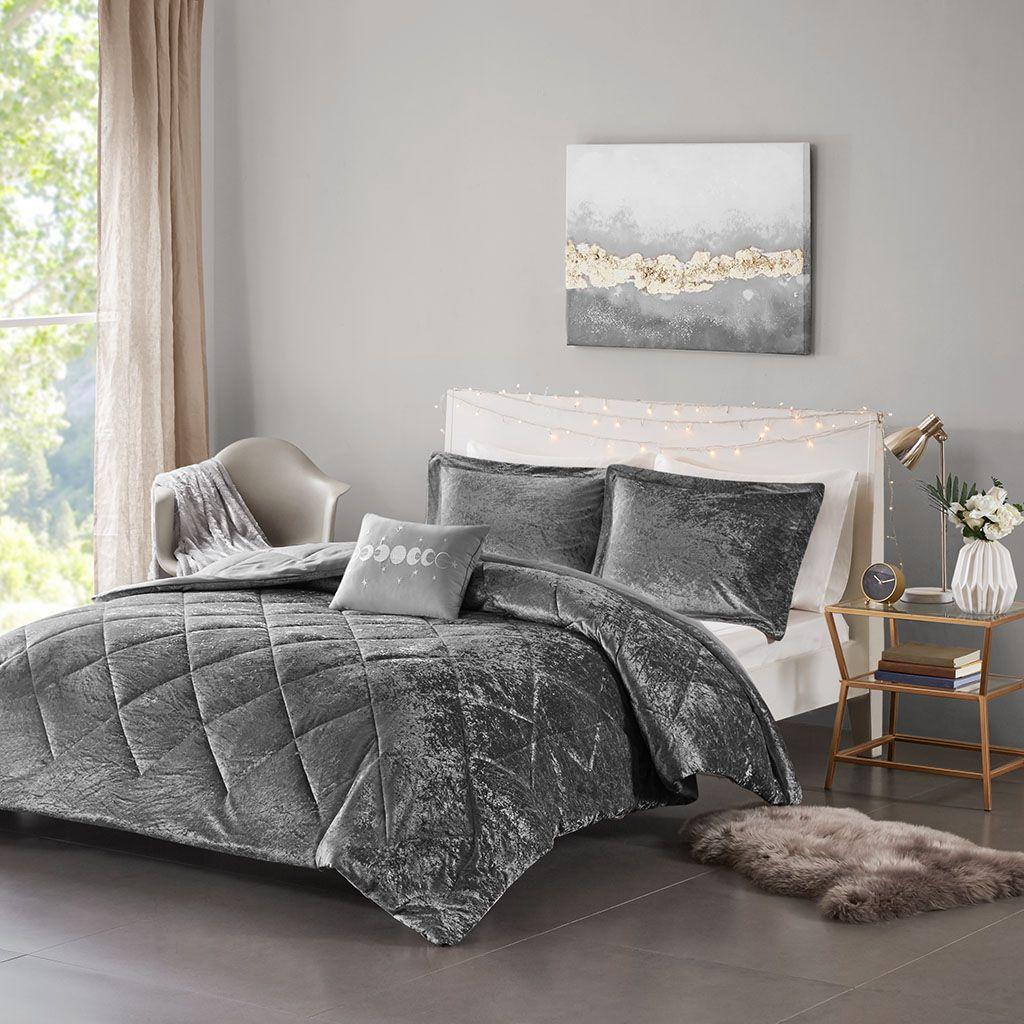 intelligent design full queen velvet comforter set in grey olliix id10 1792