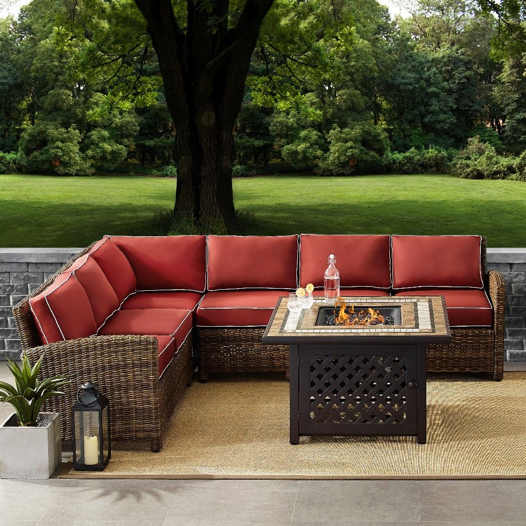 bradenton 5 piece outdoor wicker seating set with sangria cushions right corner loveseat left corner loveseat corner chair center chair fire