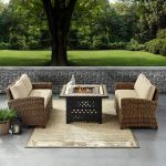 Bradenton 3 Piece Outdoor Loveseat Wicker Seating Set With Sand Cushions Loveseat Loveseat Fire Table Crosley Ko70164 Sa