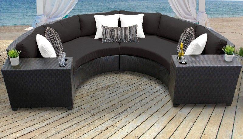 barbados 4 piece outdoor wicker patio furniture set 04c in black tk classics barbados 04c black