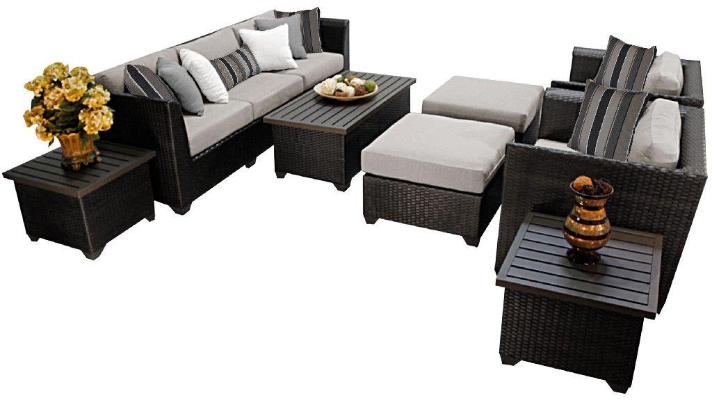 barbados 10 piece outdoor wicker patio furniture set 10c in ash tk classics barbados 10c ash
