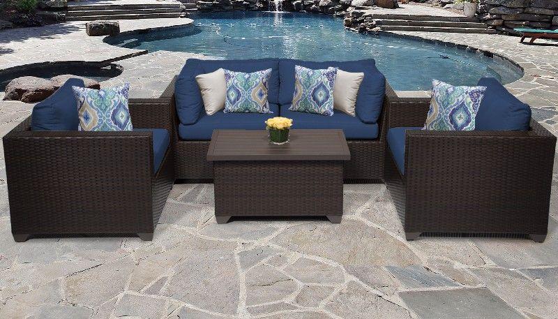 belle 5 piece outdoor wicker patio furniture set 05b in navy tk classics belle 05b navy