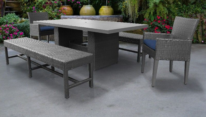 belle rectangular outdoor patio dining table w 2 chairs w arms and 2 benches in navy tk classics belle dtrec kit 2dc2db c navy
