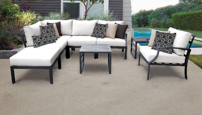 lexington 8 piece outdoor aluminum patio furniture set 08m in white tk classics lexington 08m white