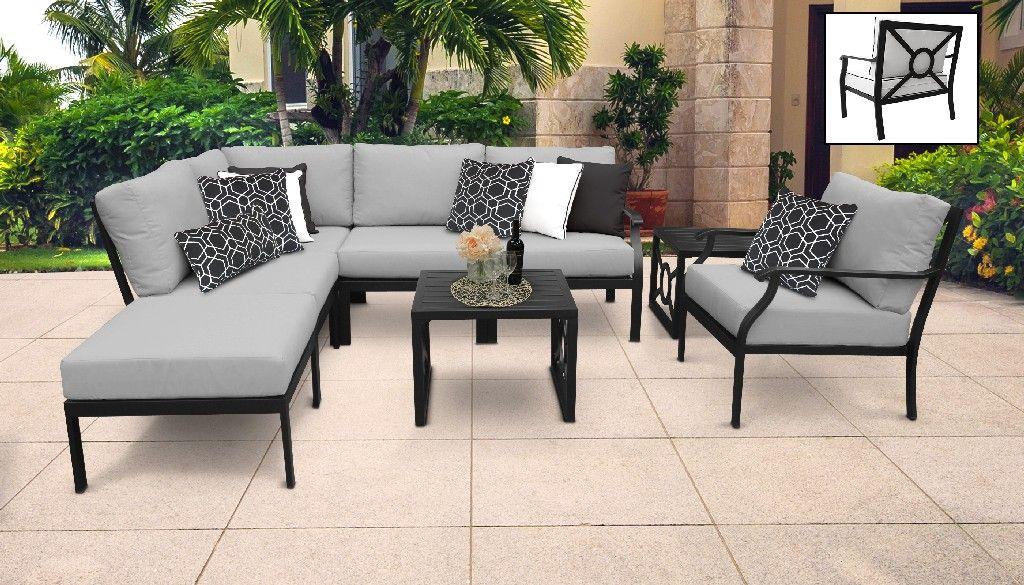 kathy ireland homes gardens madison ave 8 piece outdoor aluminum patio furniture set 08m in slate tk classics madison 08m grey