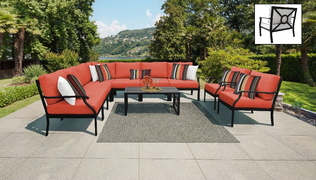 kathy ireland homes gardens madison ave 10 piece outdoor aluminum patio furniture set 10a in persimmon tk classics madison 10a tangerine
