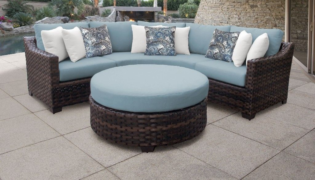 kathy ireland homes gardens river brook 4 piece outdoor wicker patio furniture set 04b in tranquil tk classics river 04b spa