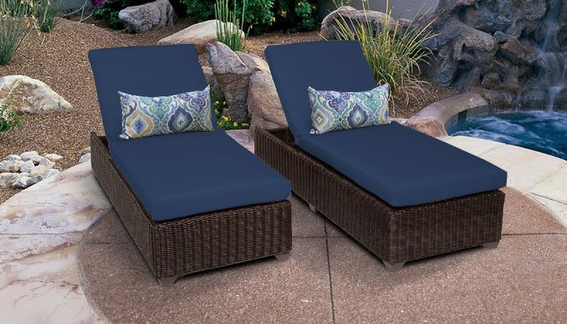 venice chaise set of 2 outdoor wicker patio furniture in navy tk classics venice 2x navy