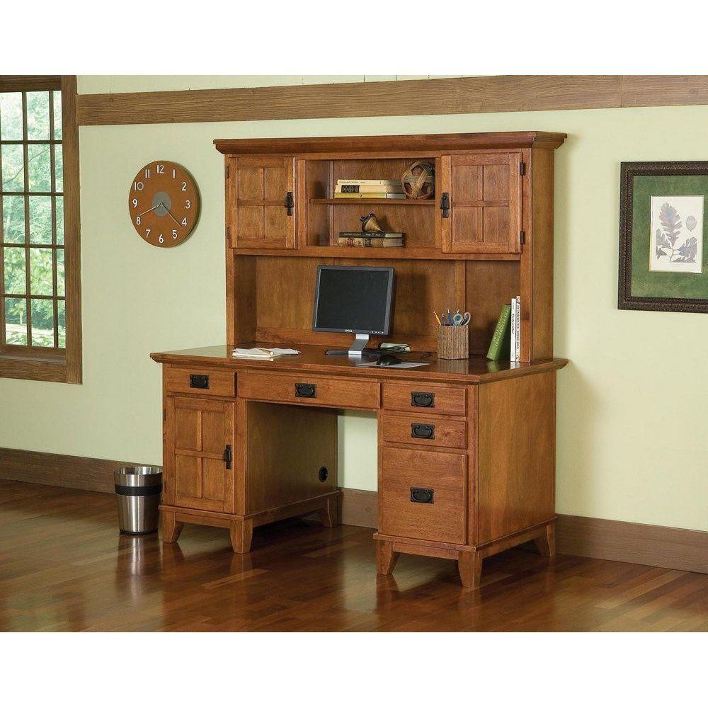 arts and crafts pedestal desk and hutch cottage oak finish homestyles furniture 5180 184
